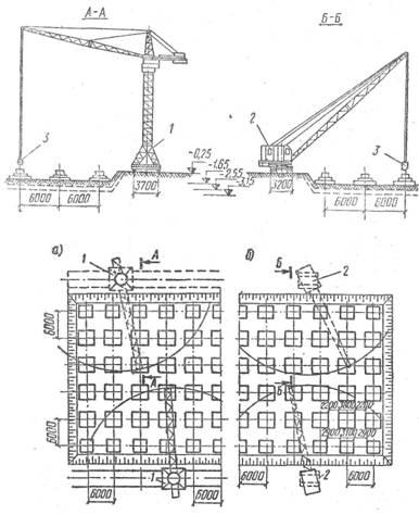 ...а—башенными; б - самоходными стреловыми; в- башенный кран БКСМ-55; г - стреловыя кран Э-1254; д—бадья.